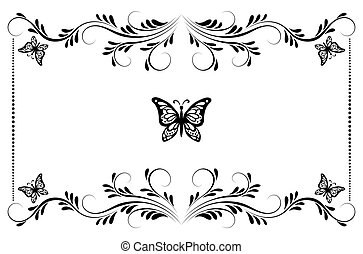 Vintage floral frame with ornament and butterflies for...