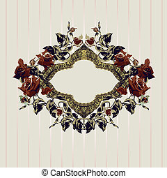 Vintage floral frame with roses and gold