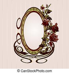 Vintage floral frame with roses