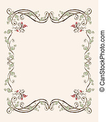 vintage floral frame with tulips