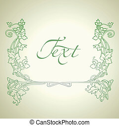 Vintage Floral Green Vector Ornate Frame.