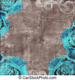 Vintage Floral Grunge Scrapbook Background with  blue rose
