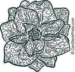 Vintage floral illustration of blooming flowers