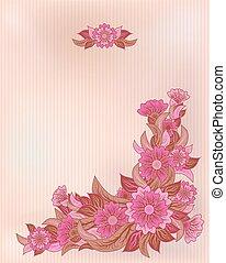 Vintage floral invitation card