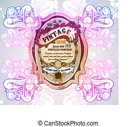 Vintage Floral Label with old fashioned background
