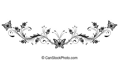 Vintage floral ornament and butterfly for greeting card...