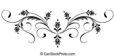 Vintage floral ornament for greeting card isolated on white...