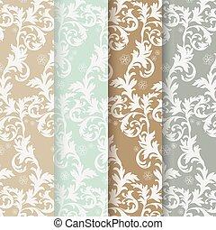 Vintage floral ornaments pattern set