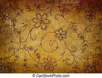 Vintage floral paper with grunge effect