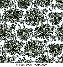 Vintage floral pattern with dandelions or asters.