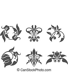 Antique vintage floral patterns isolated on white