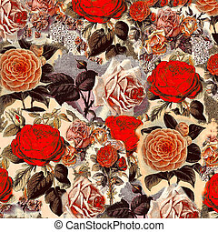 Vintage Floral Rose Flower Bouquet