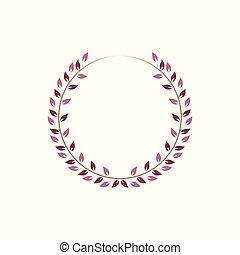Vintage floral round frames. Pink decorative ivy wreath. Vector illustration