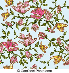 Vintage Floral Seamless Background - in vector
