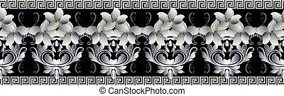 Vintage floral seamless border pattern. Vector black damask back
