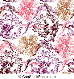 Vintage floral seamless pattern. Hand drawn illustration of orchid