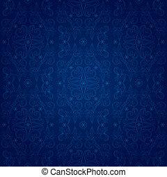 Vintage floral seamless pattern on blue. Vector background