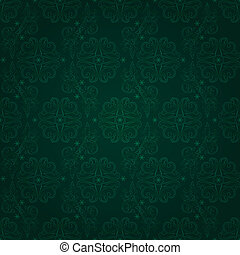 Vintage floral seamless pattern on green. Vector background
