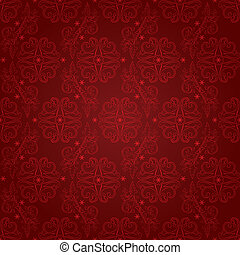 Vintage floral seamless pattern on red