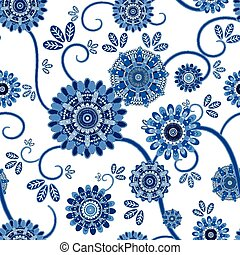 vintage floral seamless pattern over white background