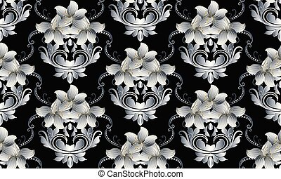 Vintage floral seamless pattern. Vector black damask background