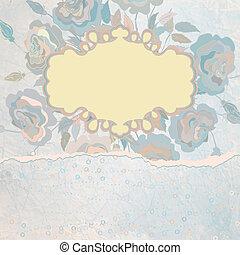 Vintage floral valentine template. EPS 8