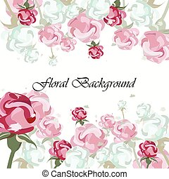 Vintage Floral vector background with roses