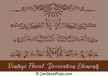Vintage floral vector elements