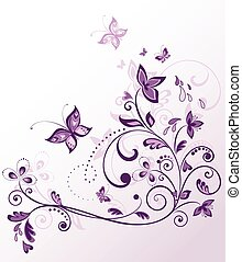 Vintage floral violet card