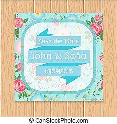 Vintage floral wedding invitation square shape