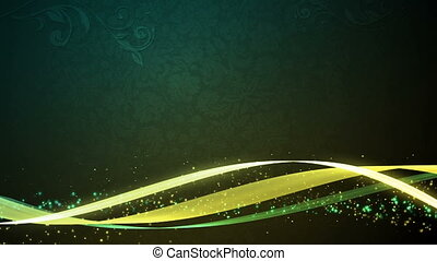 Vintage Flow Green Yellow - Abstract waves and particles...
