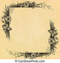 Vintage flower frame on old paper