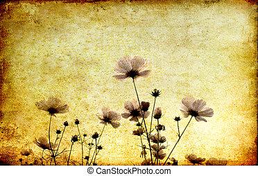 vintage flower on grunge paper background
