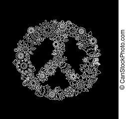 Vintage flower peace symbol