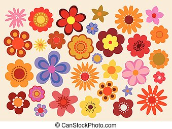 Vintage Flowers 60s/70s - Vector illustration of the flowers...