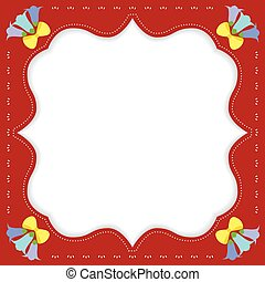 Vintage Flowers Border Frame Background Vector Illustration.