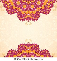 Vintage flowers ethnic background in Indian mehndi style