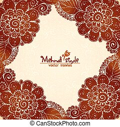 Vintage flowers ethnic frame in Indian mehndi style