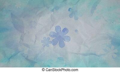 Vintage Flowers on wrinkled paper