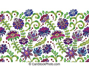 Vintage flowers seamless border in asian style. Vector bright pattern on white.