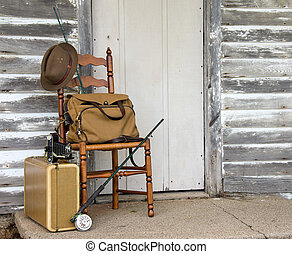 vintage fly rod with suitcase