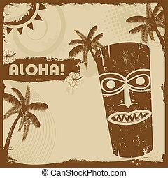 Vintage flyer with tiki and palms - Vintage grunge flyer...