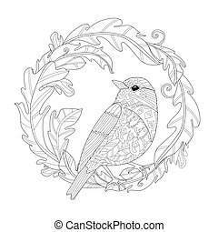 vintage foliage wreath with clever bird for your coloring book