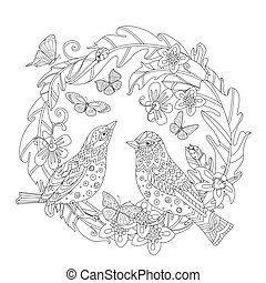 vintage foliage wreath with flowers and couple of adorable birds