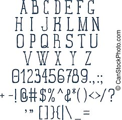 Vintage Font Set with Numbers and Signs. Vector