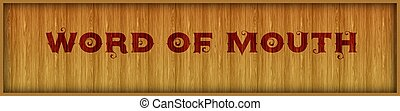 Vintage font text WORD OF MOUTH on square wood panel...