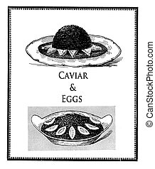 Vintage food delicacy, caviar with toasts and boiled eggs