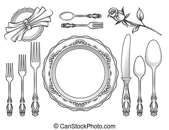Vintage food service equipment sketch. Romantic hand drawn...