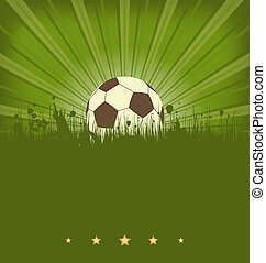 Vintage football card with ball in grass - Illustration...