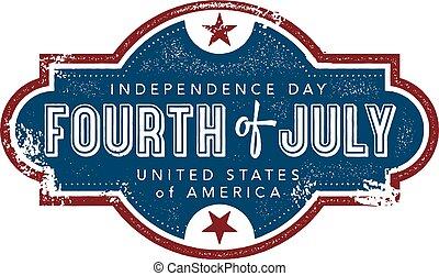 4th of July vintage style graphic.